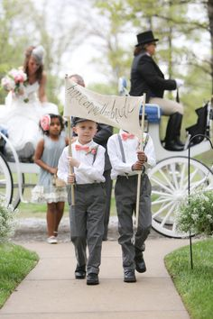 Aaron Snow Photography, ring bearers, suspenders, here comes the bride, sign, bow ties, bride, flower girl, wedding, Oklahoma wedding, Carmel wedding photographer, Carmel valley weddings