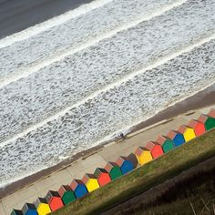 Colourful Whitby Beach Huts