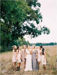 Tan Bridesmaid Dresses - Rebekah + Nick // North Carolina Farm Wedding Film Photography Perry Vaile
