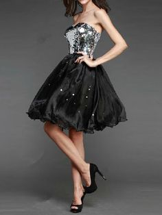 Sparkle and Shiney Bling! Black and Silver Sequins Off Shoulder Party Dress