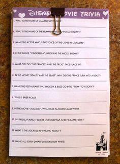 Disney trivia game for Bridal or wedding shower