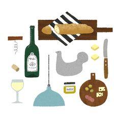 週末は家でbar開店!  #illustration #vin #暮らし #パン #kitchen #wine