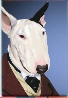 Dressed Bull terrier dog art magnet by rubenacker on Etsy English Bull Terriers, Bull Terrier Dog, Animal Traits, Four Legged, Dog Art, Pet Portraits, Cute Dogs, Original Artwork, Art Prints