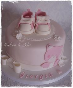 Baptism cake | Little Giorgia's Cake, Baby Converse and Tedd… | Flickr