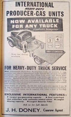 August 1942 notice from Coroow agent James H. Doney advertising heavy duty gas producer units - which were made popular during the war by tight rationing of patrol.