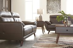 Sissoko Loveseat Gray - Signature Design by Ashley Living Room Goals, Living Room Decor, Modern Leather Sofa, Signature Design, Sofa Chair, Home Furnishings, Mid-century Modern, Love Seat, Outdoor Furniture Sets