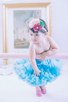 Shown wearing Fab Fuchsia Ballerina Slippers, Cool Aqua Pettiskirt, Spring Boutique Trio Headband Vintage Ballerina, Ballerina Slippers, Toddler Shoes, Cinderella, Infant, Aqua, Photoshoot, Disney Princess, Classic