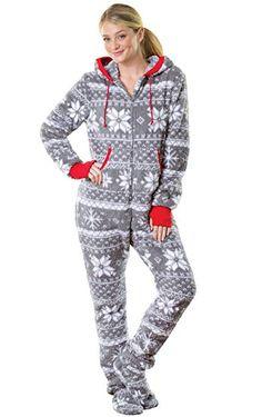 e4066734bd PajamaGram Hoodie-Footie Nordic Fleece Women s Onesie Pajama