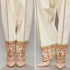 Embroidered salwar by Chinyere Pk Pakistani Outfits, Indian Outfits, Fashion Pants, Fashion Dresses, Salwar Pants, Suits For Women, Clothes For Women, Salwar Designs, Pants Pattern