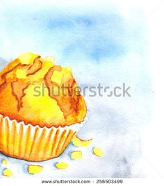 Muffin. Hand painted in watercolor