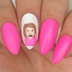Image discovered by Fashion Diva Design. Find images and videos about nails, nail art and nail designs on We Heart It - the app to get lost in what you love. Emoji Nails, Summer Stiletto Nails, Fashion Diva Design, Emoji Design, Beauty Editorial, Pink Nails, Cute Nails, Nail Art Designs, Girly
