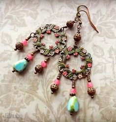 Hand painted chandelier earrings made with B'Sue's rusty black flower wreath and Czech glass  beads.