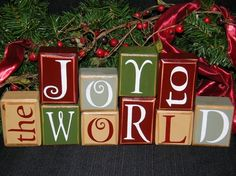 Letter Block Shop  Joy To The World  Holiday by CountrysideSayings,