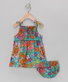 This Yo Baby Blue Retro Floral Dress & Diaper Cover - Infant by Yo Baby is perfect! #zulilyfinds