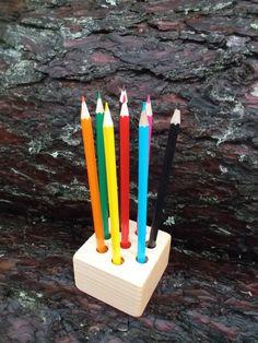 Wooden pencil holder Pen holder Wooden desk by WoodpeckerLG