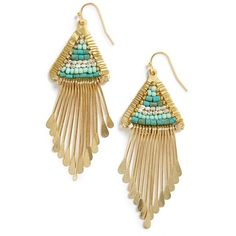 Nakamol Design Beaded Triangle Earrings ($28) ❤ liked on Polyvore featuring jewelry, earrings, turquoise, fringe jewelry, fringe earrings, triangular earrings, nakamol design and gold tone jewelry