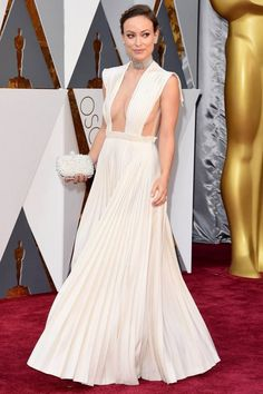 Olivia Wilde Pleated Ivory Celebrity Prom Dress At 2016 Oscars Red Carpet