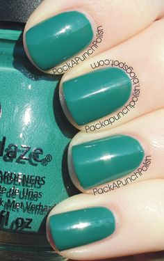 China Glaze Exotic Encounters is part of the On Safari Collection. It is a gorgeous teal color. This is 2 coats without top coat.    Full Blog Post:  http://packapunchpolish.blogspot.com/2012/11/china-glaze-exotic-encounters.html