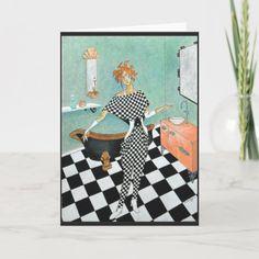 Greeting Card--Art Deco Woman in Bathroom Card   makeup for redhead, redhead guy, animated redhead #redheadsrule #redheadunite #redheadedwoman, 4th of july party Redhead Shirts, Art Deco Paintings, Art Deco Bathroom, Wood Company, Thing 1, Wood Canvas, Wood Wall Art, Art Deco Fashion, Female Art
