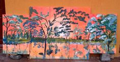 Tablou abstract acril pe panza, in 5 piese 30x80 si 40x60
