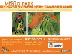 Downtown Menlo Park plays host to the Menlo Park Sidewalk Fine Arts and Crafts Fall Fest Saturday, September 30 from 10 am to 6 pm and Sunday, October 1 from 10 am to 5 pm.   Learn more about this event at: http://pacificfinearts.com/2017-show-schedule/menlo-park-sidewalk-fine-arts-crafts-fall-fest/ #PacificFineArtsFestivals #FineArt #Festivals #FestivalSeason #VisualArt #MenloPark #bayareabuzz