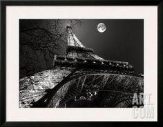 Tour Eiffel, Pleine Lune Art Print by Antoine Carrara at Art.com