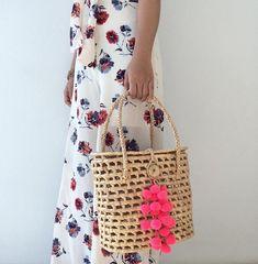 Sac paille / Woven Bag / Pom pom Straw mini Bag / Straw bag /