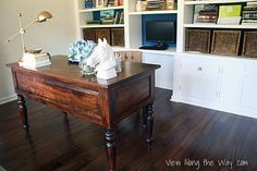 """In trying to configure her home office, Kelly from View Along the Way ran into what she describes as a very """"hush-hush"""" problem for designers: the lamp cord Dark Wood Desk, Cordless Lamps, Make A Lamp, Lamp Cord, Interior Decorating, Interior Design, Decorating Ideas, Craft Ideas, Decor Ideas"""