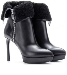 aa91c626193 Saint Laurent - Black Janis Shearling-trimmed Leather Ankle Boots. Lyst