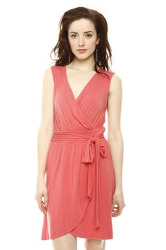 #Coral #Elegant #Wrap #Dress