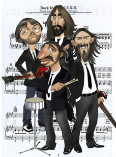 Cartoon: The Beatles (medium) by Nenad Vitas tagged rock,and,roll,music,liverpool,georh,john,paul,ringo