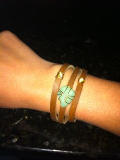 Sea glass, wire, and leather Sea Glass, Wire, Homemade, Metal, Bracelets, Gold, Leather, Jewelry, Bangles