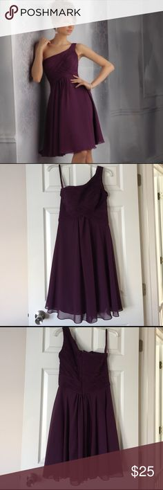 "Eggplant One Shoulder Dress One Shoulder Eggplant Mori Lee Dress. Worn once. Shell and Lining are 100% polyester. Length from the top of the one shoulder is 38"". Fits more true to a size 4 or 6. Mori Lee Dresses One Shoulder"