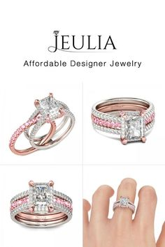 #Jeulia JEULIA Interchangeable 2-Tone Pink Wedding Ring Set For Women Ra. Discover more stunning Interchangeable Rings from Jeulia.com. Shop Now!