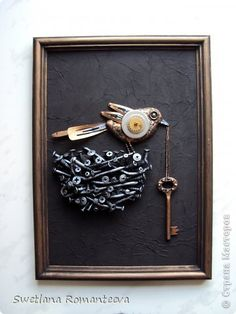 Key Crafts, Vintage Jewelry Crafts, Jewelry Art, Metal Art Projects, Metal Crafts, Clay Wall Art, Coin Art, Keys Art, Found Object Art