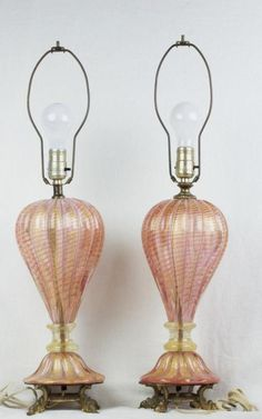 """26"""" Pair Venetian Murano Blown Glass Table Lamps Pink w/Gold Fleck Opaline Italy"""