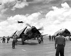 F6F Hellcat on the flight deck of Enterprise, 2 Jul 1943; Source: United States National Archives; ID: 80-G-74510