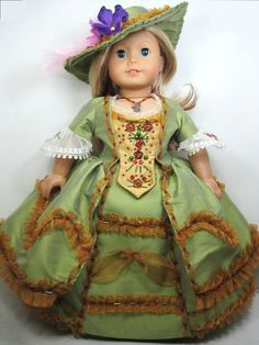 1800's Luxury gown 6- piece set that fits 18 inch doll like American girl doll.   I love this.