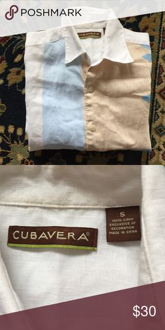 "Button Down Men's Dreaming of Havana? Step into this crisp cool Linen top. Casual cool and easy! In excellent condition with no issues. 20"" underarm to underarm and 27"" L Cubavera Shirts Casual Button Down Shirts"