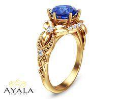 14K White Gold Blue Sapphire Ring Four Prongs Setting Sapphire Engagement Ring Wedding Rings Promise Rings Gemstone Engagement Ring