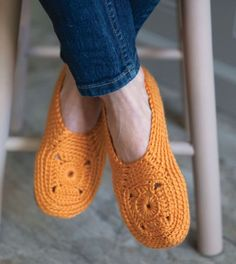 One granny motif crochet slippers from Crochet to Calm