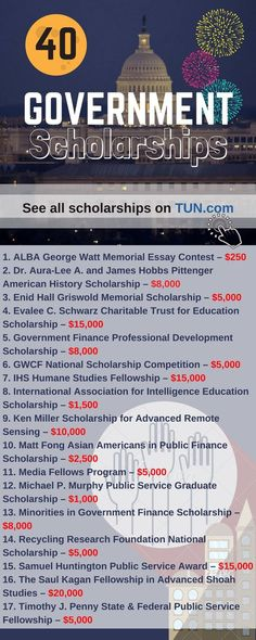 Here is a selection of Government Scholarships that are listed on TUN.