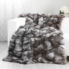 Luxury 100/% Sheared Sheep Fur Skin Throw Warm Soft Bedspread//Blanket Multifunct