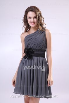 2013 Modern A-line One Shoulder Ruched Sleeveless Tea Length Shor Bridesmaid Dress With Sashes