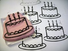 Birthday cake- carved rubber stamp     DIY, planner, for birthdays - write in age and the name above