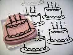 carved stamp, birthday cake