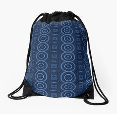 A pattern of blue mandalas and deformed squares with a handcrafted appearance reminiscent of crochet, knitting, lace, etc. • Also buy this artwork on bags, apparel, phone cases, and more.