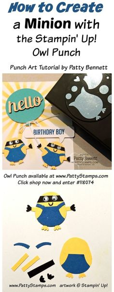 Create Minion Punch Art with the Stampin' UP! owl punch! Great Birthday card embellishment!