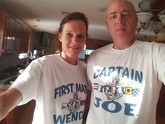 """Joe sent the customer photo of the week to us. Captain Joe and his First Mate, Wendy are a super fun and lively couple who enjoy boating every opportunity they get. The custom Captain and First Mate designs are ideal for this seafaring couple! Thanks for the spectacular picture Joe and Wendy. We """"shore"""" do like it! http://blog.inkpixi.com/customer-photo/customer-photo-of-the-week-2/"""