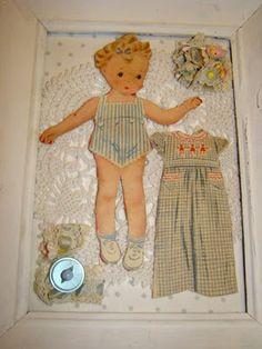 framed collage vintage paper doll cutouts